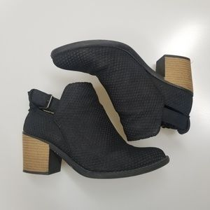 Black Vegan Suede Ankle Booties size 6